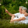Elderly couple in summer — Stock Photo