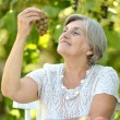 Senior lady eating fruits outdoors — Stock Photo