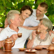 Family drinking tea outdoors — Stock Photo #30478897
