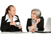 Two businesswomen sitting at the table — Stock Photo