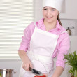 girl preparing breakfast  — Stock Photo