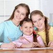 Girls draw with pencils  — Stock Photo