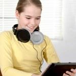 Girl using tablet — Stock Photo