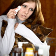 Girl feels sickness — Stockfoto