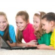 Girls with a laptop — Stock Photo