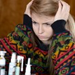 Girl is sick with influenza — Stockfoto
