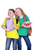 Two friendly schoolgirl — Stock fotografie