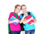 Girls with textbooks — Stock Photo