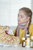 Girl in a yellow sweater — Stock Photo