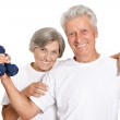 Elderly couple in a gym — Stock Photo #30858689