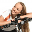 Nice girl with bicycle — Stock Photo