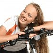 Nice girl with bicycle — Foto Stock