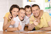 Family drawing together — Stock Photo