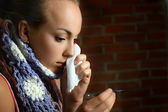Sick teenage girl — Stock Photo