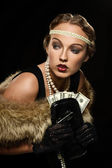Retro gangster girl — Stock Photo