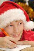 Çocuk Noel Baba şapkası yazılı olarak — Stok fotoğraf