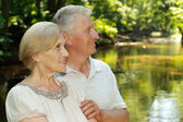 Thoughtful elderly couple — Stock Photo