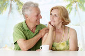Pretty old couple at the resort — Stock Photo
