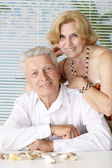 Nice old people at the resort — Stock Photo