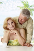 Nice old couple at the resort — Stock Photo