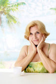 Fine lady at the resort — Stock Photo