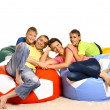 Family watching tv at home — Stockfoto