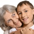 Boy hugs his granny — Stock Photo