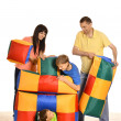 Family of four having fun — Foto Stock