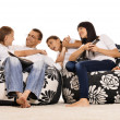 Family watching tv — Foto Stock