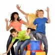 Family of four having fun — Stock Photo