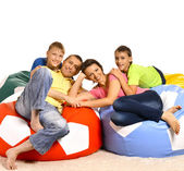 Family watching tv at home — Stock Photo