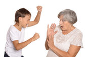 Boy with his grandmother — Stock Photo