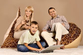 Cute family at home — Stock Photo