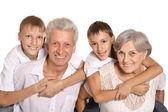 Happy family on white — Stock Photo