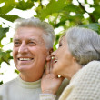 Senior pair in park sharing secrets — Stock Photo
