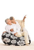 Elderly couple at home — Stock Photo