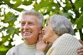 Senior paar in park delen van geheimen — Stockfoto