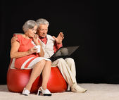 Elderly couple using laptop — Stock Photo