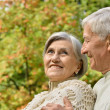 Happy senior couple in park — Stock Photo