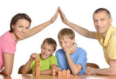 Family playing at home — Stock Photo