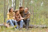 Famille de quatre personnes dans le parc — Photo