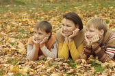 Happy mother with her sons — Stock Photo