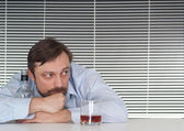 Thoughtful entrepreneur in his office — Stock Photo