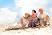 Regular cool weekend spent with their granddaughter — Stock Photo
