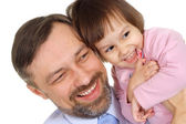 Smiling father holds daughter — Stock Photo
