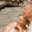 Thinking elderly couple went for a walk  — Stock Photo
