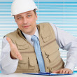 Superb man working in the construction helmet — Stock Photo