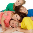 Stock Photo: Friendly family of four people