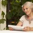 Charming older womsitting on veranda — Stock Photo #32393459