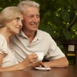 Beauteous elderly couple sitting on the veranda — Stock Photo